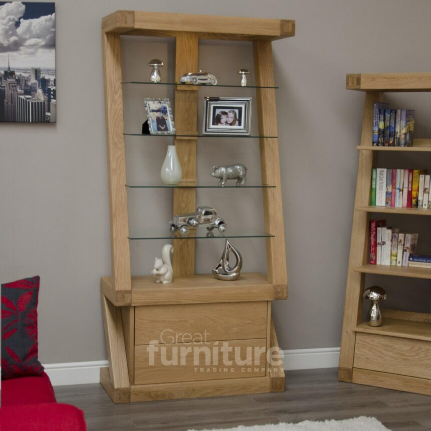 Z Designer Solid Oak and Glass Display Cabinet