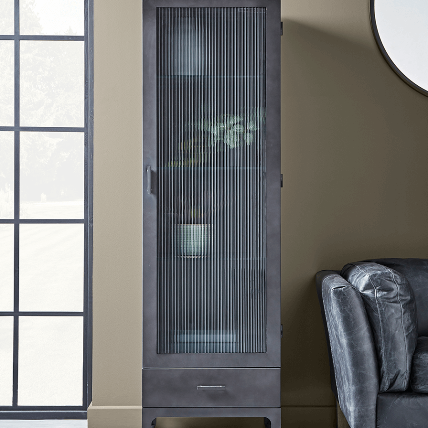 NEW Reeded Glass Display Cabinet - Slim